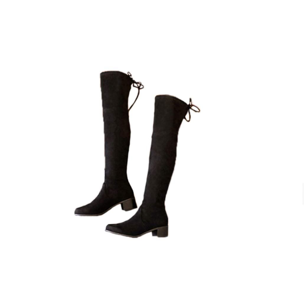 Black suede4.5 Women Chunky Heel Increasing Over The Knee Boots Stretch Scrub Suede Thigh High Boots Comfortable Boots