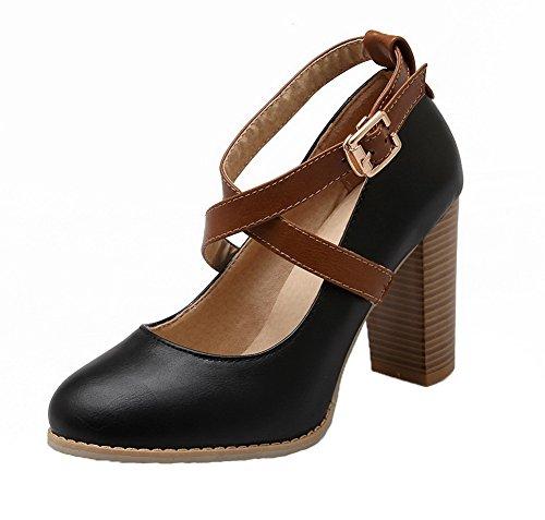 Pour Les Femmes Voguezone009 Pu Hauts Talons Bout Rond Fermé Boucle Solide Pompes Chaussures Noires