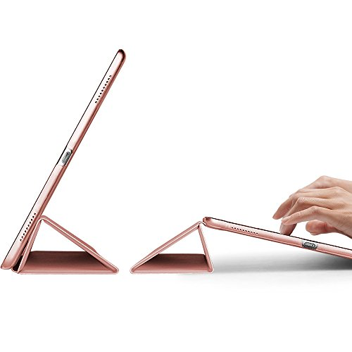 ESR Yippee Trifold Smart Case for iPad Pro 12.9 2017, Lightweight Trifold Stand Case with Auto Sleep/Wake Function, Microfiber Lining, Hard Back Cover for iPad Pro 12.9 2017 (Rose Gold)