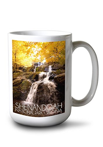 Lantern Press Shenandoah National Park, Virginia - Waterfall in Autumn (15oz White Ceramic Mug)