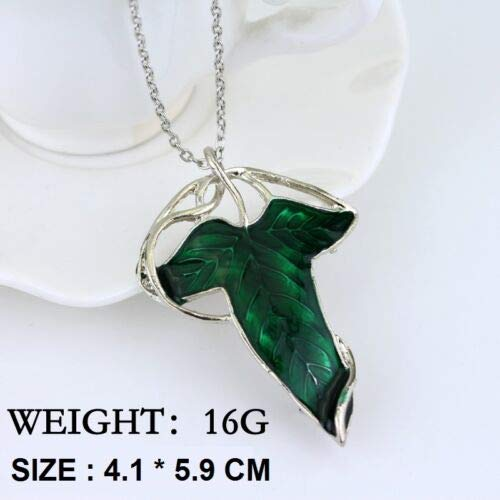 Elven Crystals - FidgetFidget LOTR Lord of The Rings Arwen EvenStar Elven Leaf Crystal Green Pendant Necklace Elven Leaf