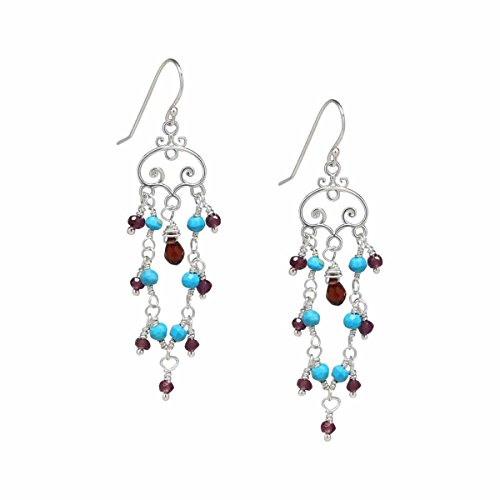 Sterling Silver Sleeping Beauty Turquoise and Red Garnet Chandelier Earrings