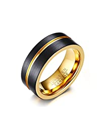 Mealguet Two-tone Black/Gold Tungsten Carbide Grooved Wedding Engagement Ring Band for Men,8mm