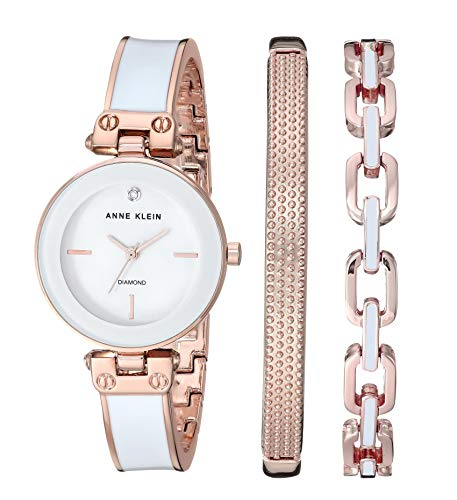 Anne Klein Women's Genuine Diamond Dial Rose Gold-Tone and White Bangle Watch with Bracelet Set, AK/3346WRST