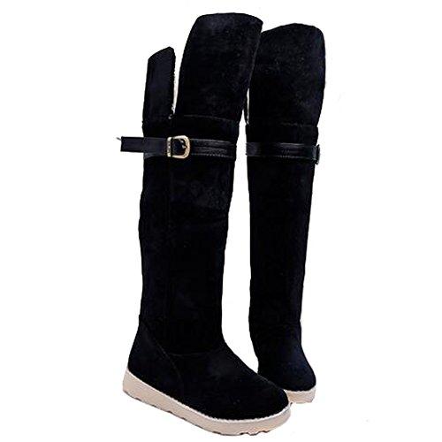 Angelliu Womens Hiver Plat Cuisse Haute Neige Bottes Filles Sur Les Chaussons De Genou École Chaussures Noir