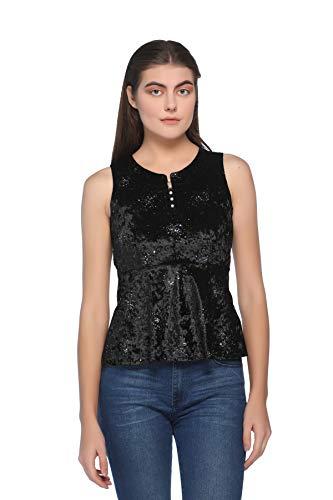 ARMURE Women Self Design Sleeveless Velvet Black Top
