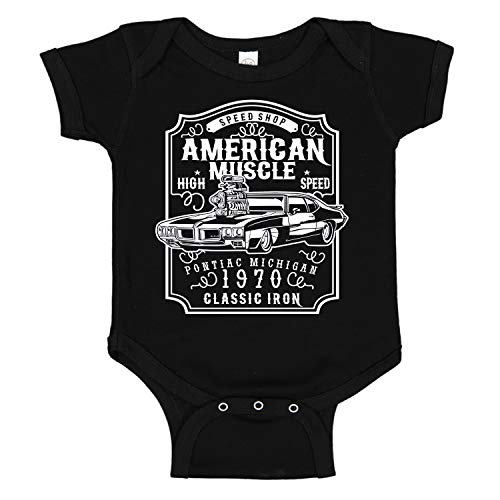 (American Muscle Pontiac GTO Racing Classic Car Cute Baby One Piece Cotton Suit Romper Black (12 Months))
