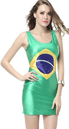 Thenice Women's Sexy Dress Elasticity Vest Skirt (Brazil flag) (Brazil Sexy)