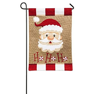 Evergreen Burlap Peppermint Santa Garden Flag, 12.5 x 18 inches