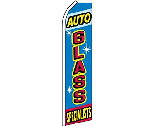ALBATROS Auto Glass Specialists Swooper Super Feather Advertising Flag for Home and Parades, Official Party, All Weather Indoors Outdoors ()