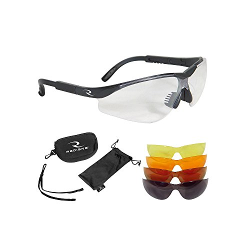Radians T-85 Glasses with Case/Cloth Bag/Neck Cord, Black Frame, Clear/Copper/Amber/Orange/Green Mirror Lens by Radians