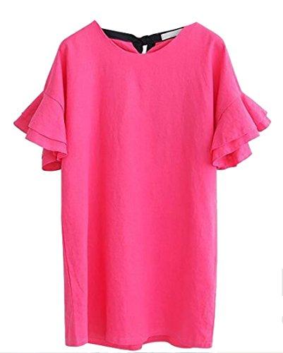Da Rossa Eleganti Dimensioni Vestito Rosa Donne Delle Volant Manicotto Mini Partito Più Jaycargogo q0f4Fx