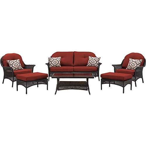 Hanover San Marino 6-Piece Seating Set Crimson Red SMAR-6PC-RED