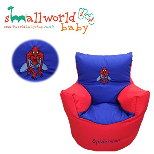 CHILDRENS KIDS TODDLER PRE FILLED PERSONALISED BEAN BAG CHAIR SEAT SPIDERMAN GIRLS BOYS (NEXT DAY DISPATCH) Small World Baby Shop