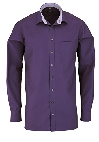 ETERNA Comfort Fit Hemd extra langer Arm Chambray aubergine AL 68