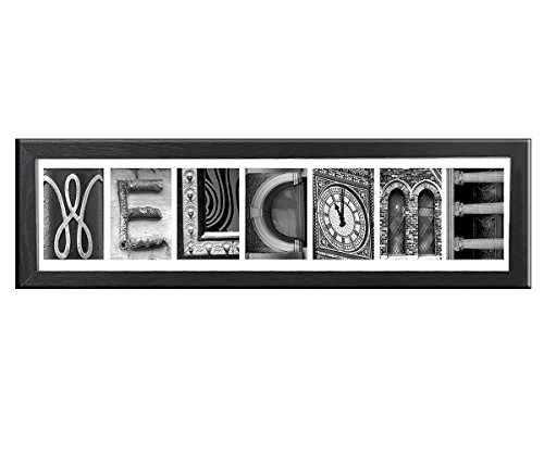 Creative Personalized Imagine Letter Art Frame with seven (7) 4x6 inch clip frames, Wooden - Glasses Frame Names