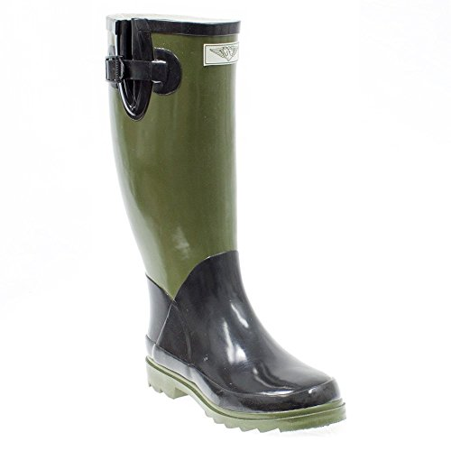 Black Rubber Rain Boots (Women Rubber Rain Boots - Olive/Black - Size 10)