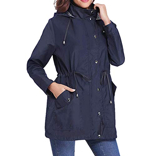 Mxssi Patchwork Blu Coulisse Casual A Giacca Trench Impermeabile Donna Coat Cappotti Antivento Vento Hooded wAq8Trpxw