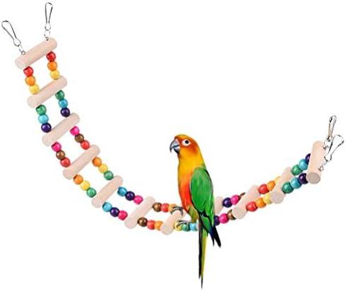 バードトイ オウムブランコ 鳥グッズ 小鳥のおもちゃ 小動物 オウムおもちゃ ペット用品 カラフルウッド ビーズ