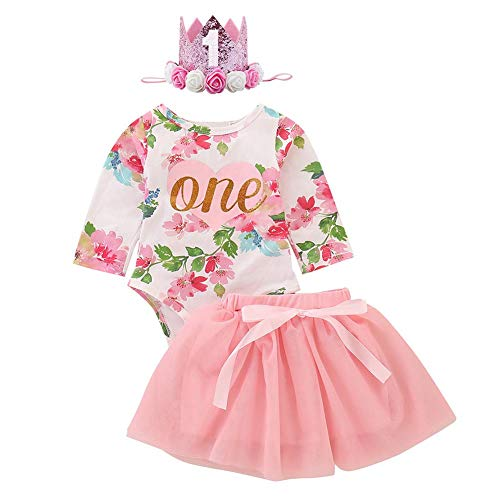 IDOPIP Baby meisjes eerste 1e verjaardag taart Smash Outfits Romper Vest + tuturok + strik hoofdband pailletten prinses…