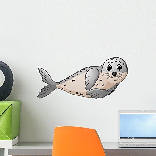 Wallmonkeys Cute Seal Cartoon Wall Decal Peel and Stick Graphic WM359237 (18 in W x 14 in H) Baby Seal Fur