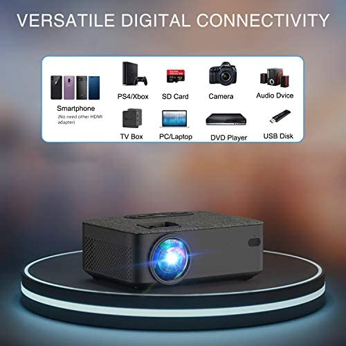 "WiFi Projector,VILINICE 5000L Mini Bluetooth Movie Projector ,Portable Phone Projector with Wireless Mirroring,1080P and 240"" Supported, Compatible with Fire Stick,HDMI,VGA,USB,TV,Box,Laptop,DVD"