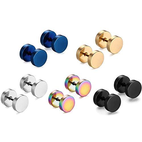 5 Pairs Assorted Color Men Women Titanium Steel Fashion Stud Earrings Hypoallergenic Piercing Jewelry 8mm Diameter