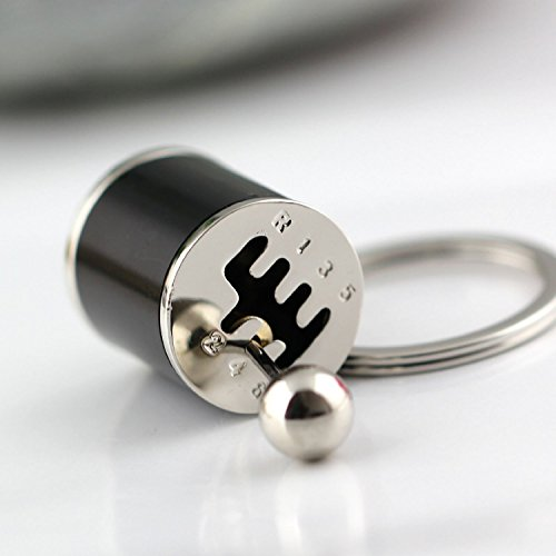 Amazinggadget Creative Auto Part Model Six-speed Manual Transmission Shift Lever Car Keychain Keyring (Black)