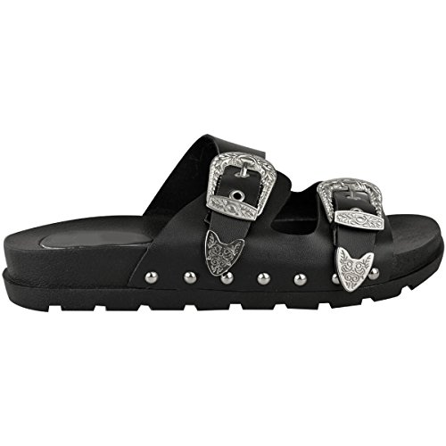 Fashion Thirsty heelberry Mujer Hebilla tachonada Pantuflas Verano Deslizables Sandalias Zapatos Talla 3-8 Piel Sintética Negro