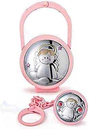 Juego caja para chupete y broche Bimba Cod.ae0441r con placa de plata: Amazon.es: Bebé