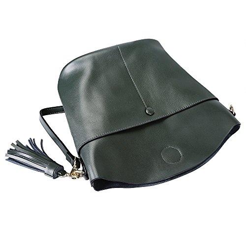 S-ZONE Bolso de monedero de piel de vaca para mujeres Bolso de monedero de piel cruzada (violeta) verde oscuro