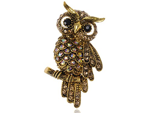 Alilang Antique Gold Tone Light Topaz Colored Rhinestones Owl Bird Brooch Pin