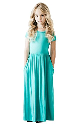 Girls Dresses Short Sleeve Holiday Casual Summer Swing Long Maxi Dress with Pockets
