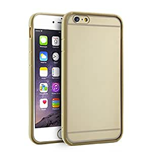 Gear Beast GearJelly Armor Apple iPhone 6 (4.7 Inch) Rugged TPU Bumper Phone Case with Clear PC Back (Gold)