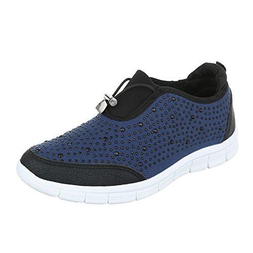 Ital-Design - Zapatillas de casa Mujer azul y negro