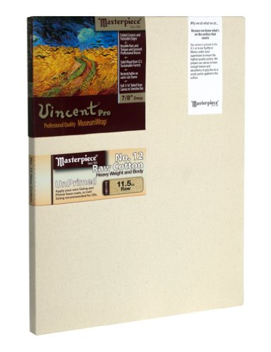 Masterpiece Artist Canvas 41759 Vincent PRO 7/8'' Deep, 24'' x 48'', Cotton 11.5oz - Raw Unprimed No. 12 by Masterpiece Artist Canvas