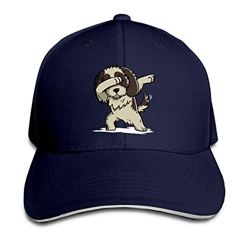Unisex Dabbing Shih Tzu Cotton Baseball Cap Adjustable Trucker Hat for Mens Womens Navy
