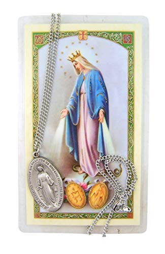 Our Lady of The Miraculous Medal Silver-Toned Medal with Prayer Card