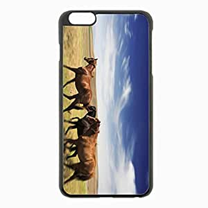 iPhone 6 Plus Black Hardshell Case 5.5inch - horse meadow speed Desin Images Protector Back Cover