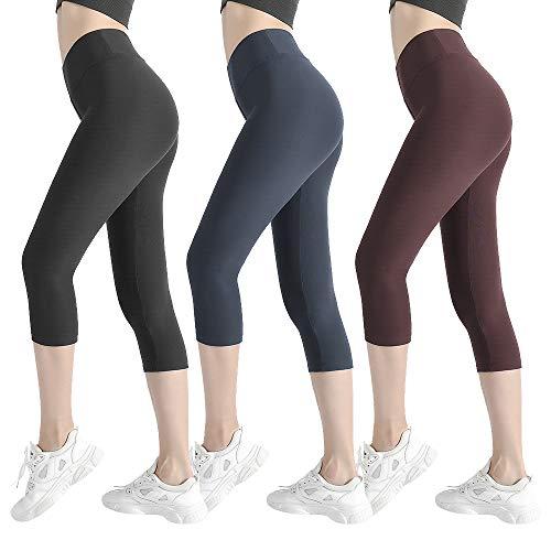 (Natural Feelings Soft Capri Leggings for Women High Waisted Tummy Control Opaque Slim Leggings One & Plus Size)
