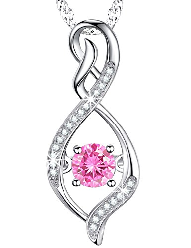 Mothers Day Anniversary Gift for Her for Mom Pink Tourmaline Swarovski Infinity Pendant Birthstone Necklace Jewelry Sterling Silver October Birthstone Tourmaline