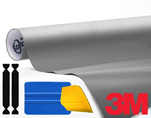 3M 1080 Matte Gray Aluminum Air-Release Vinyl Wrap Roll Including Toolkit (20ft x 5ft) by 3M