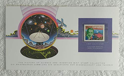 Guglielmo Marconi - Radio Telegraphy - Postage Stamp (Canada, 1974) & Art Panel - The History of Science & Invention - Franklin Mint (Limited Edition, 1986) - Telegraph, Wireless Communications, Long-Distance Radio Transmission