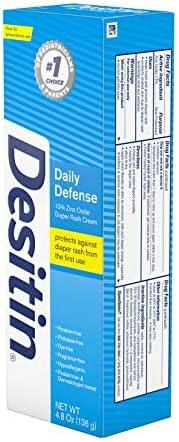 41qRDYqKv3L. AC - Desitin Daily Defense Baby Diaper Rash Cream With Zinc Oxide To Treat, Relieve & Prevent Diaper Rash, Hypoallergenic, Dye-, Phthalate- & Paraben-Free, 4.8 Oz
