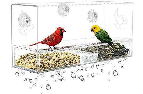 (Window Bird Feeder, Extra Strong Suction Cups, Removable Tray with Drainage Holes,3 Extra Suction Cups, Acrylic Clear Design to Enjoy Bird Watching in The Comfort of Your Home)