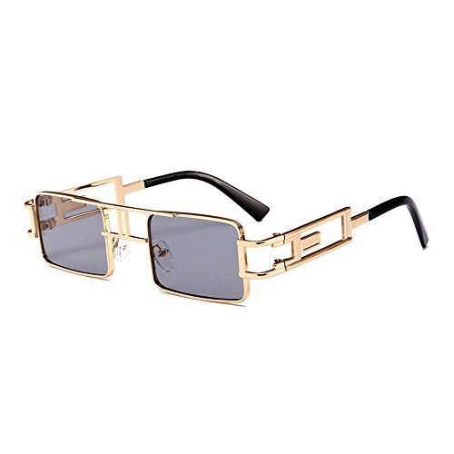 MINCL/Hip-Hop Square Metal Small Frame Clear Color Lens Sunglasses (gold-black) by mincl