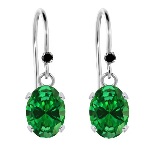 2.50 Ct Oval Green Simulated Emerald Black Diamond 925 Sterling Silver Earrings