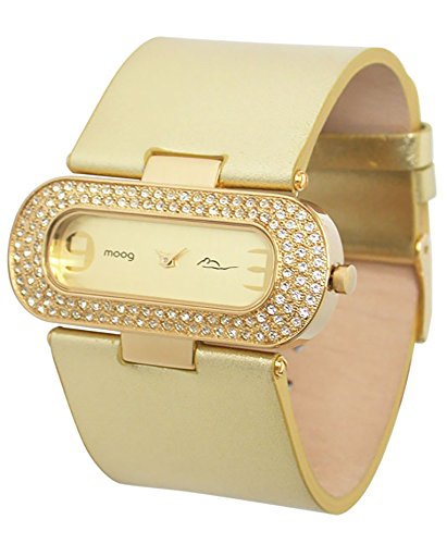 Moog Paris - Smart - Women's Watch with champagne dial, gold strap in Genuine calf leather, made in France - M44082-013