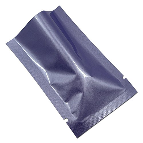 "200 Pcs Multi Size-Color Aluminum Foil 3.16mil Mylar Vacuum Heat Seal Pouch Odor Proof Food Storage Bags Notch Bath Salt Lotion Sample Packet (3.5''x5.1'' (3.15""x4.9"" inner size)-0.8oz, Eggplant) by PABCK"