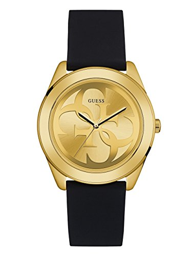 GUESS Women's Stainless Steel Silicone Casual Watch, Color: Black (Model: U0911L3)